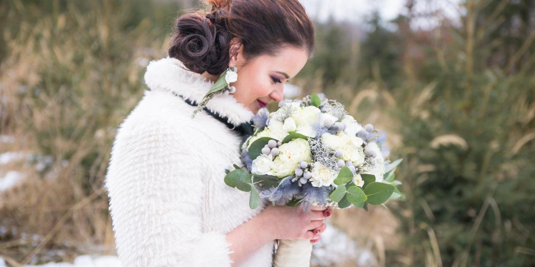 Svatební vizáž, make-up a účes pro nevěstu, zimní focení