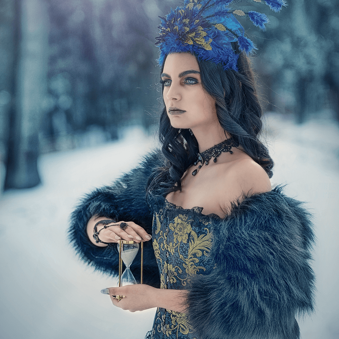 Focení temná královna, tmavý dramatický foto make-up