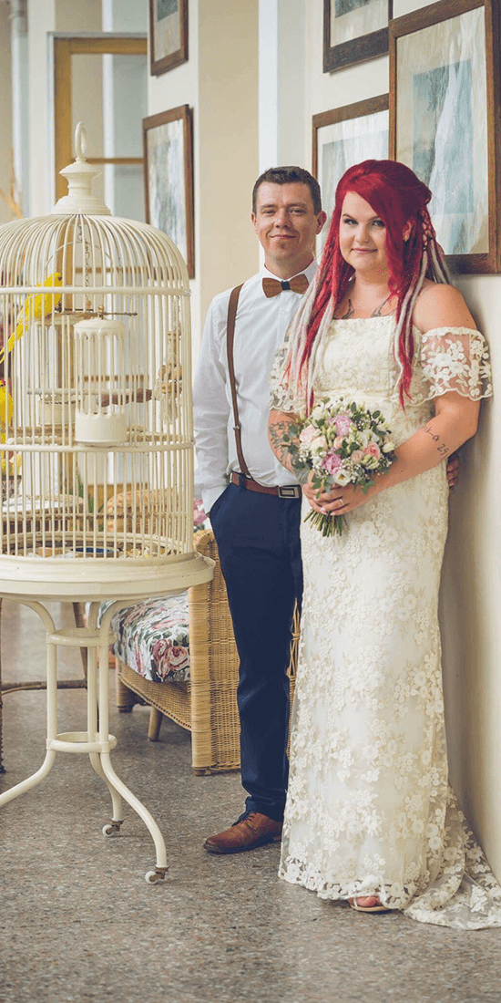 Nevěsta se ženichem, svatební líčení