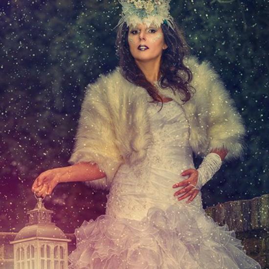 Zimní královna s lucernou, foto make-up, tmavě fialová rtěnka, stříbrno šedé stíny, třpytky na obličeji