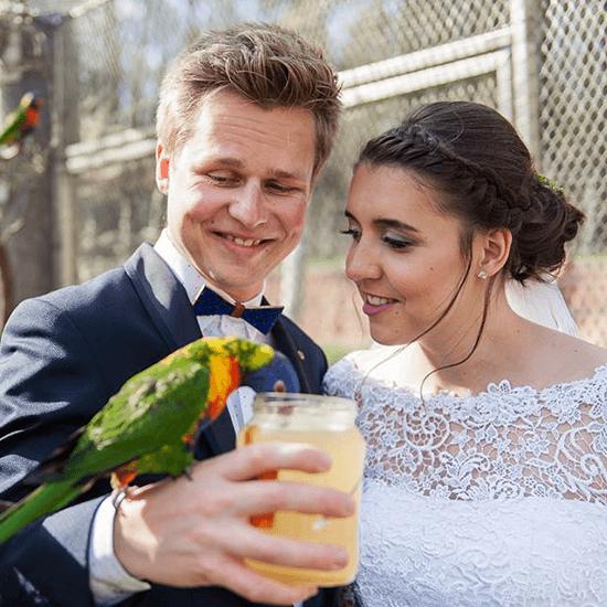 Novomanželé s papouškem, make-up nevěsta