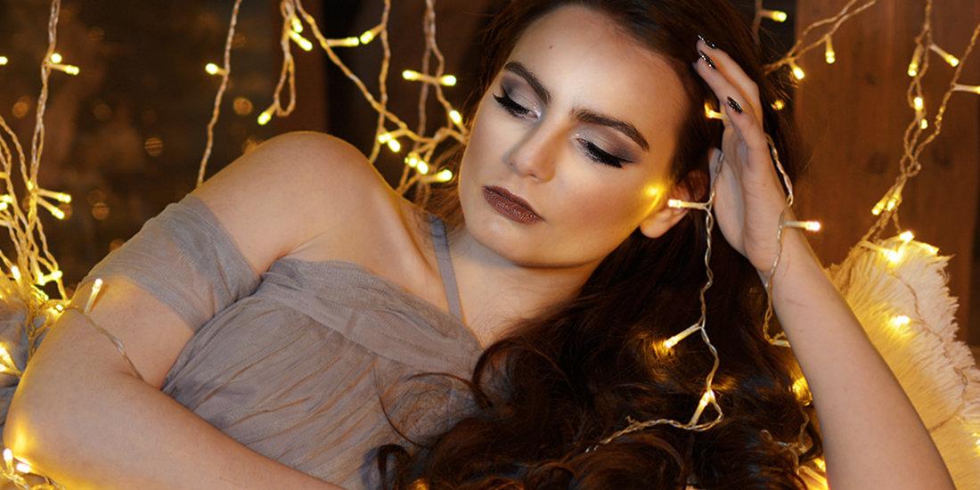 romantický make-up focení se světýlky